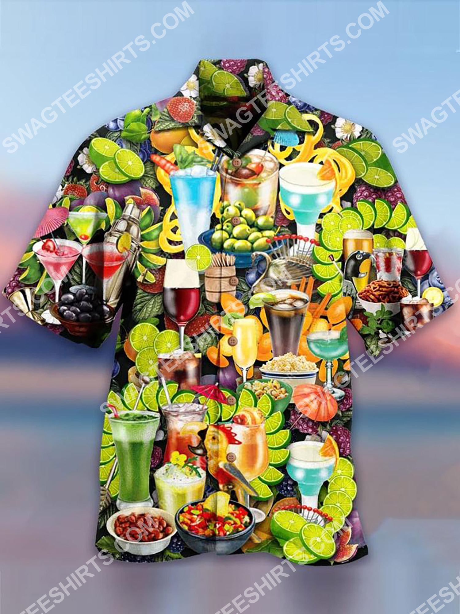 tropical fruit and cocktail all over printing hawaiian shirt 2(1)