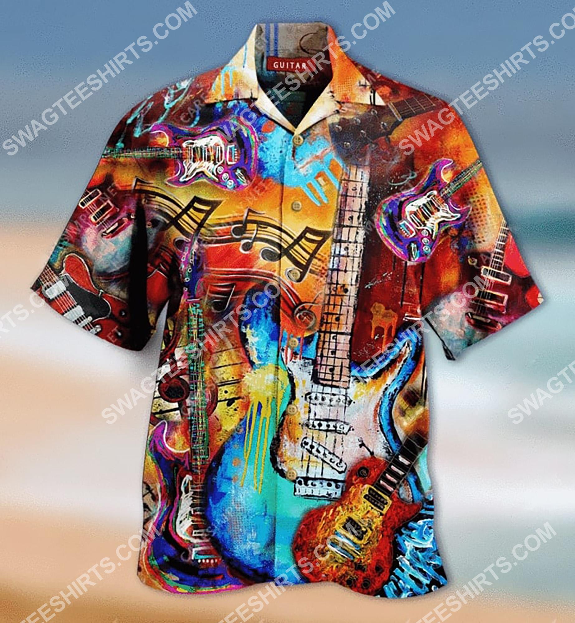 vintage guitar colorful all over printing hawaiian shirt 2(1)