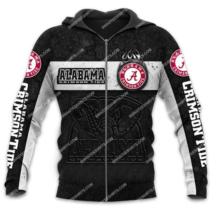 alabama crimson tide football team all over printed zip hoodie 1