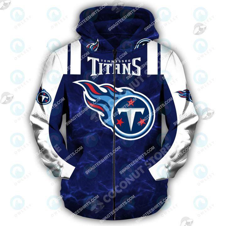 american football team tennessee titans all over printed zip hoodie 1