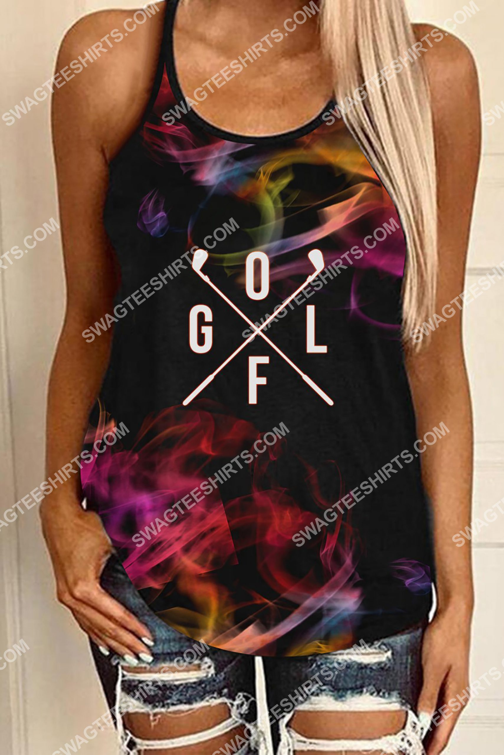 colorful golf all over printed strappy back tank top 3(1)