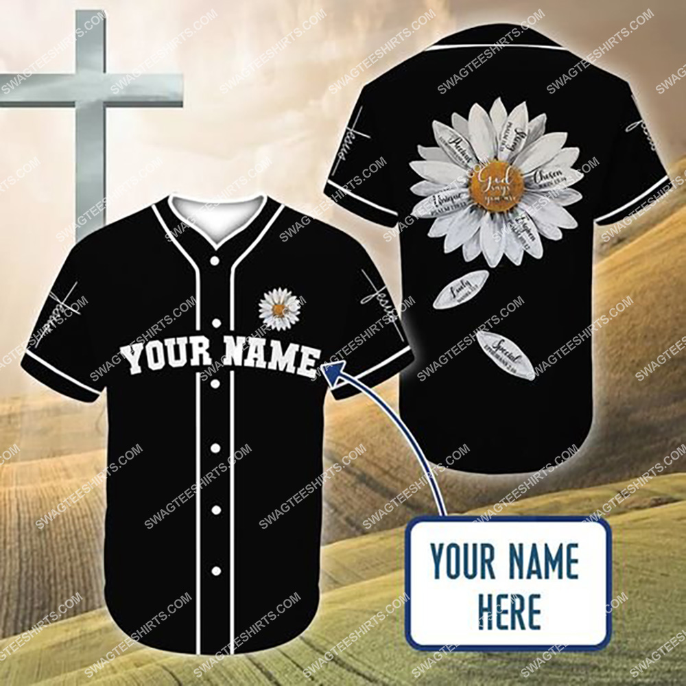 custom name Jesus and daisy flower all over printed baseball shirt 1(1) - Copy