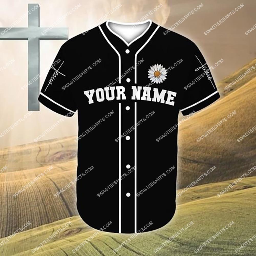custom name Jesus and daisy flower all over printed baseball shirt 2(1)