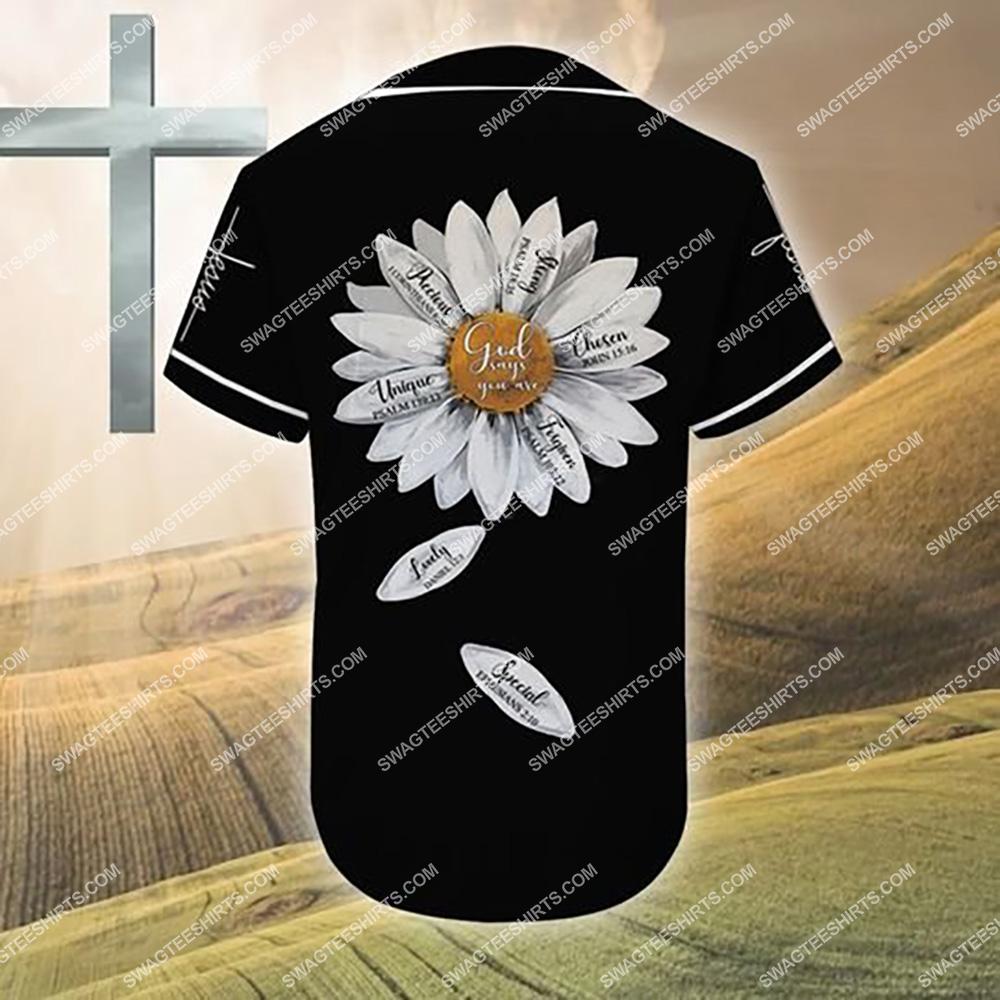 custom name Jesus and daisy flower all over printed baseball shirt 3(1)
