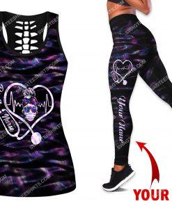 custom name be a nurse all over printed leggings set 1