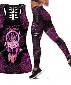 custom name believe dream catcher breast cancer all over printed leggings set 1