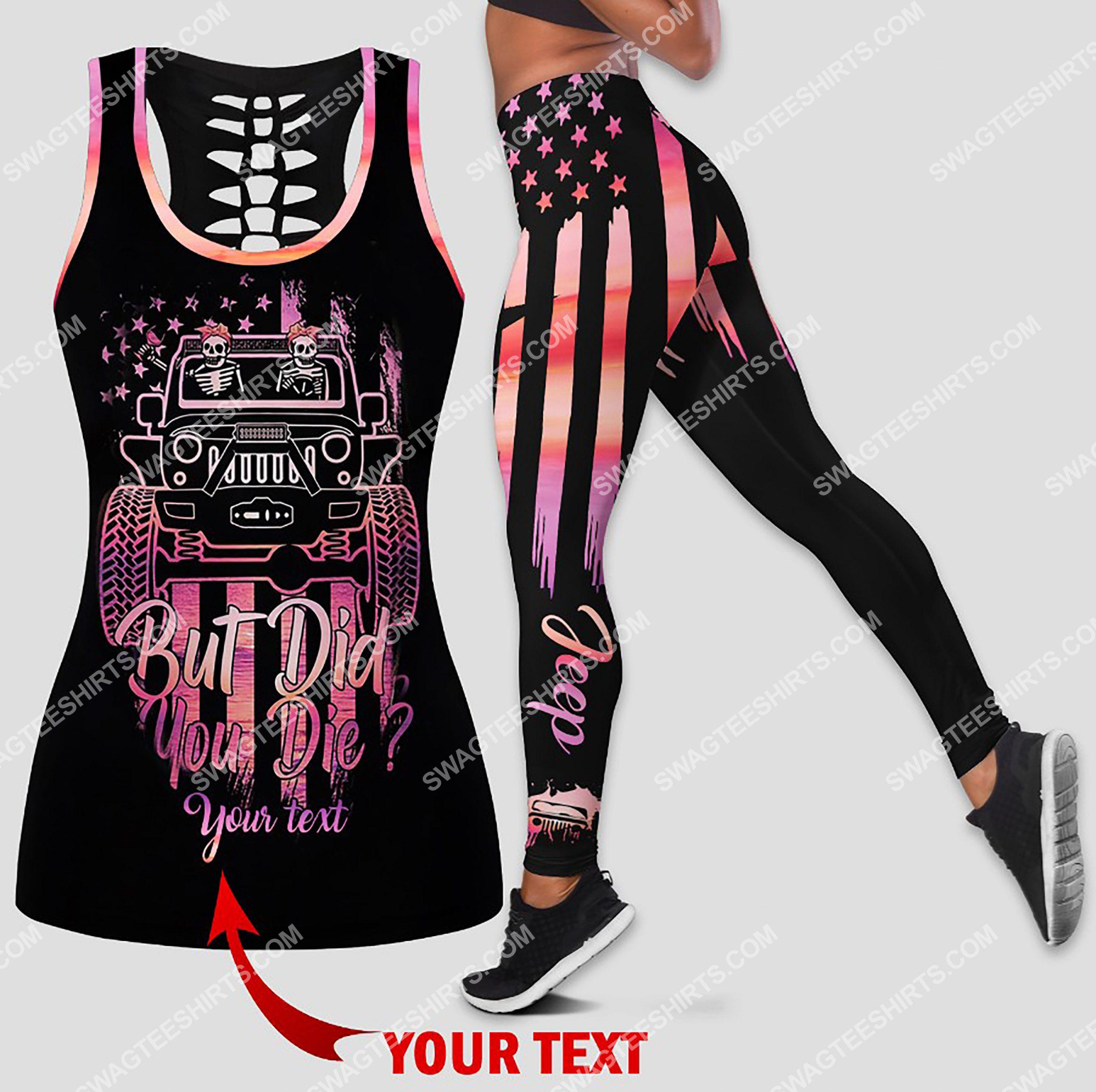 custom name car but did you die all over printed leggings set 1