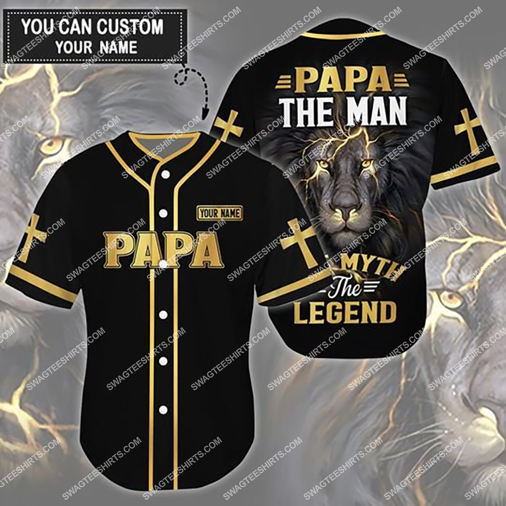 custom name lion papa the man the myth the legend all over printed baseball shirt 1(1)