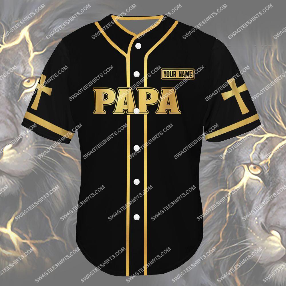 custom name lion papa the man the myth the legend all over printed baseball shirt 2(1)