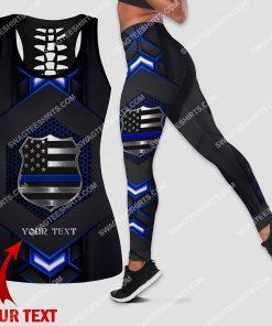 custom name police officers blue line all over printed leggings set 1