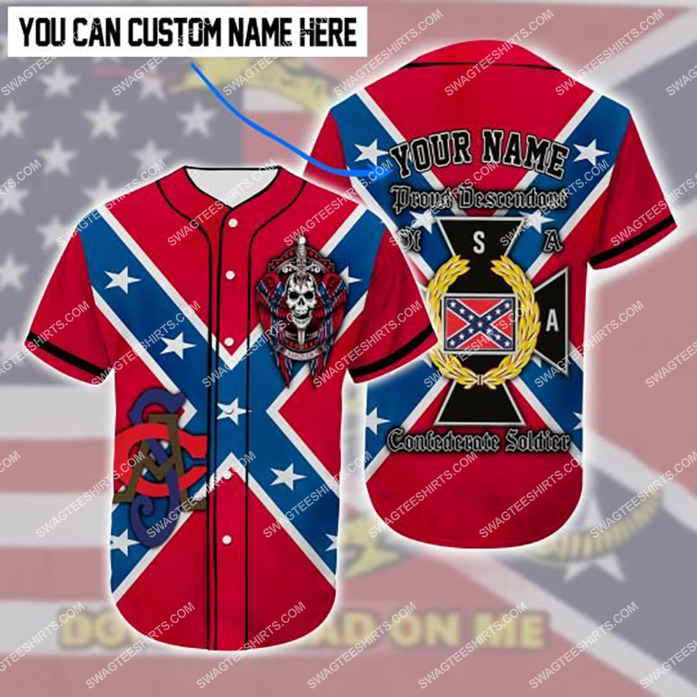 custom name proud descendant of a confederate soldier all over printed baseball shirt 1(1)