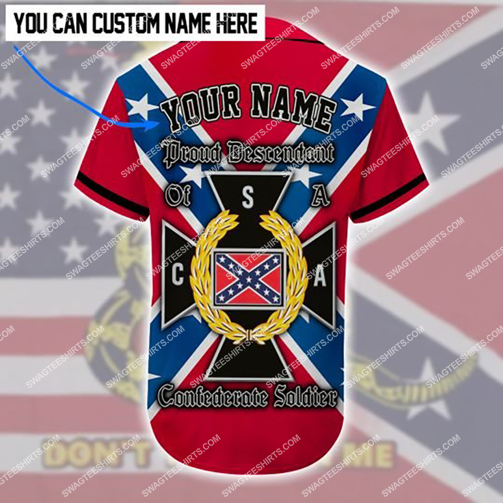 custom name proud descendant of a confederate soldier all over printed baseball shirt 3(1)