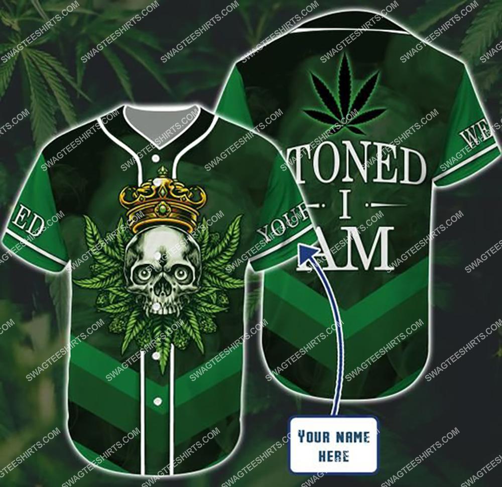 custom name weed leaf stoned i am all over printed baseball shirt 1(1)