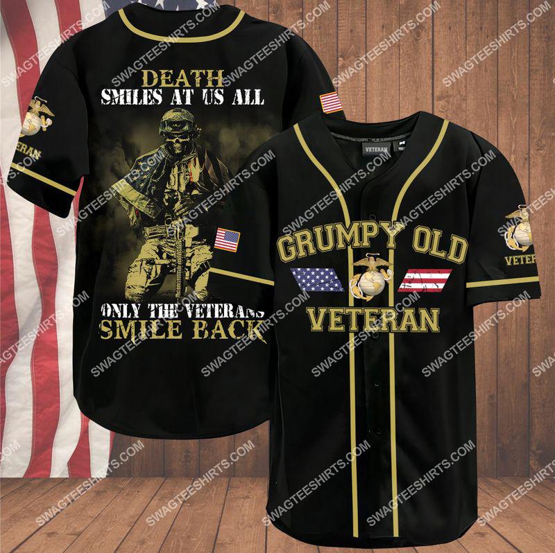 death smiles at us all only the veterans smile back grumpy old veteran marine corps veteran baseball shirt 1(1) - Copy