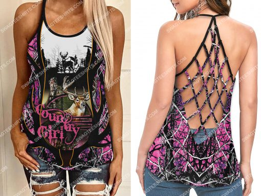 hunting country girl full printing strappy back tank top 2(1)