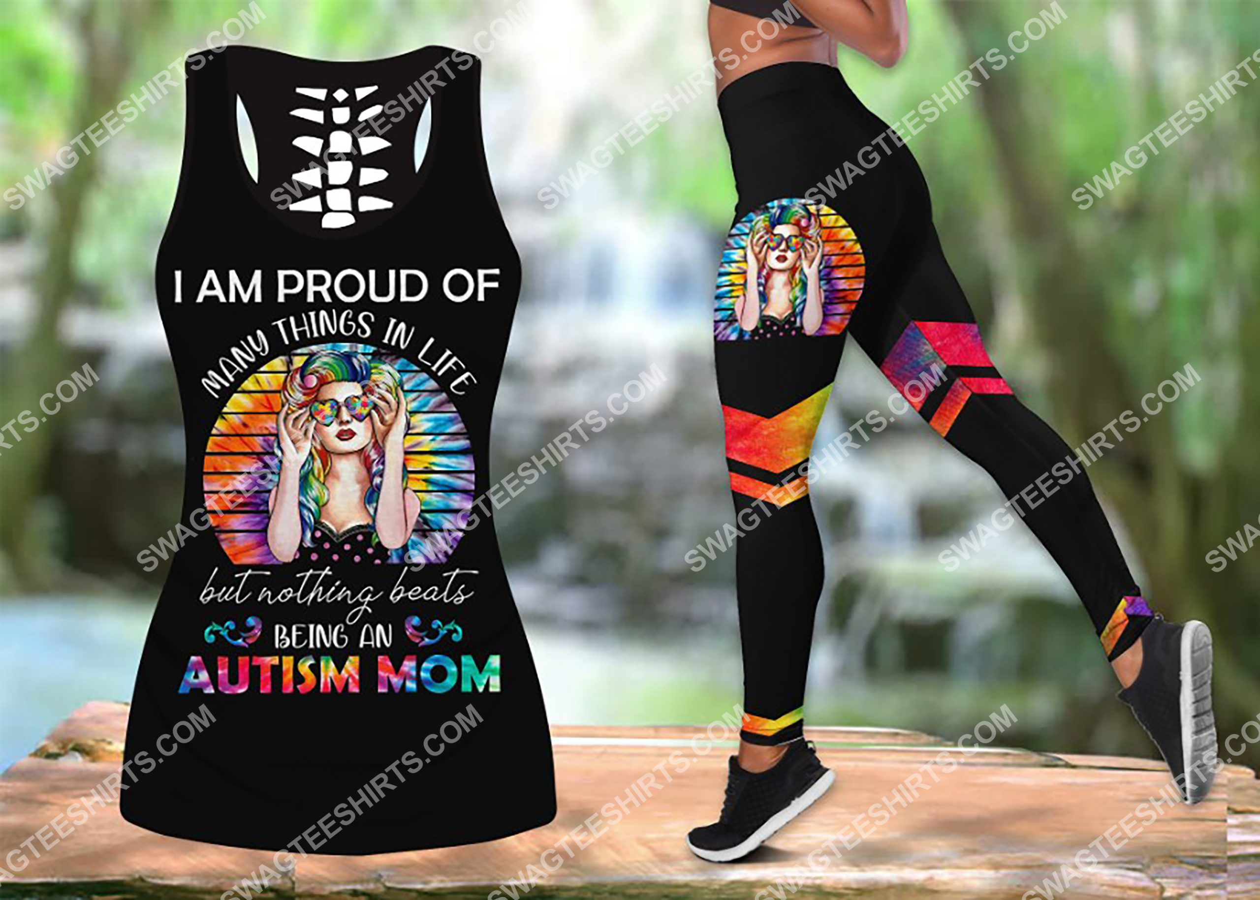 i am proud of many things in life but nothing beats being an autism mom leggings set 1