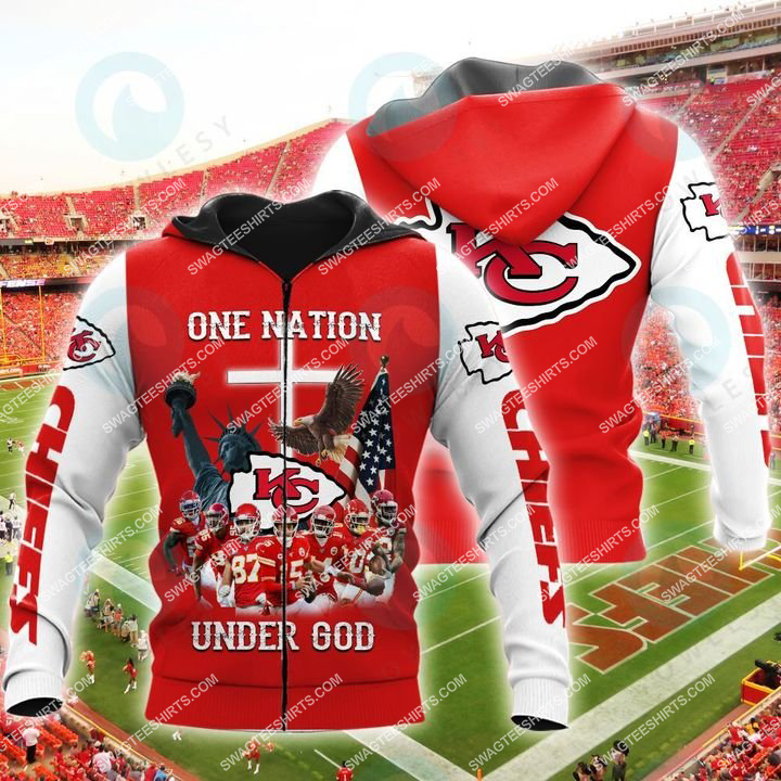 kansas chiefs football one nation under God all over printed zip hoodie 1