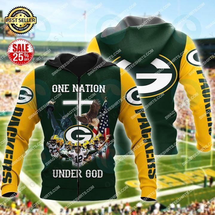 pittsburgh steelers football one nation under God all over printed zip hoodie 1