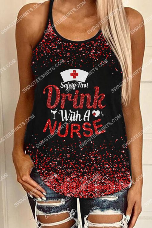 safety first drink with a nurse glitter strappy back tank top 3(1)