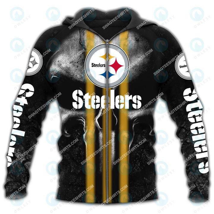 skull football team pittsburgh steelers all over printed zip hoodie 1