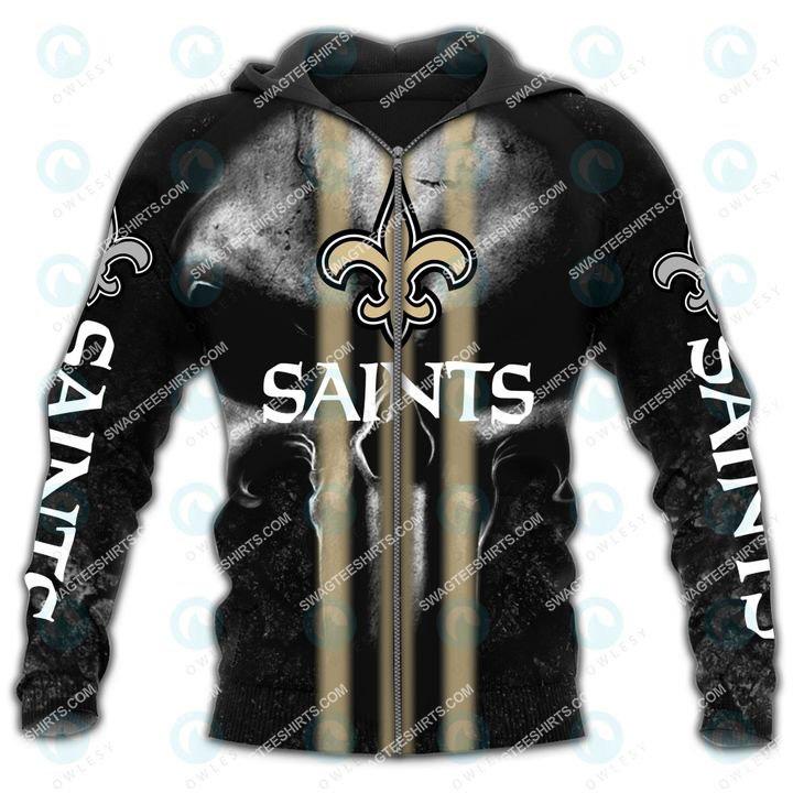 skull new orleans saints football team all over printed zip hoodie 1