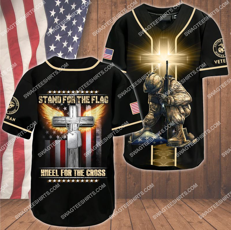 stand for the flag kneel for the Cross marines veteran baseball shirt 1(1) - Copy