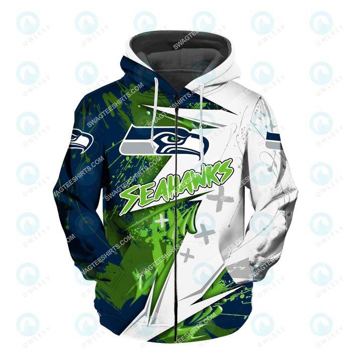 the american football team seattle seahawks all over printed zip hoodie 1