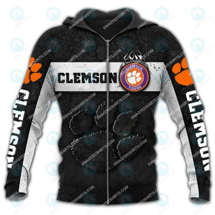 the clemson tigers football team all over printed zip hoodie 1