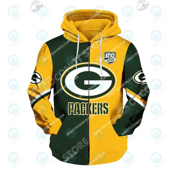the football team green bay packers all over printed zip hoodie 1