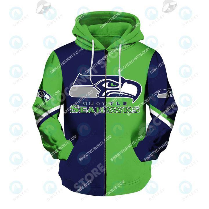 the football team seattle seahawks all over printed zip hoodie 1