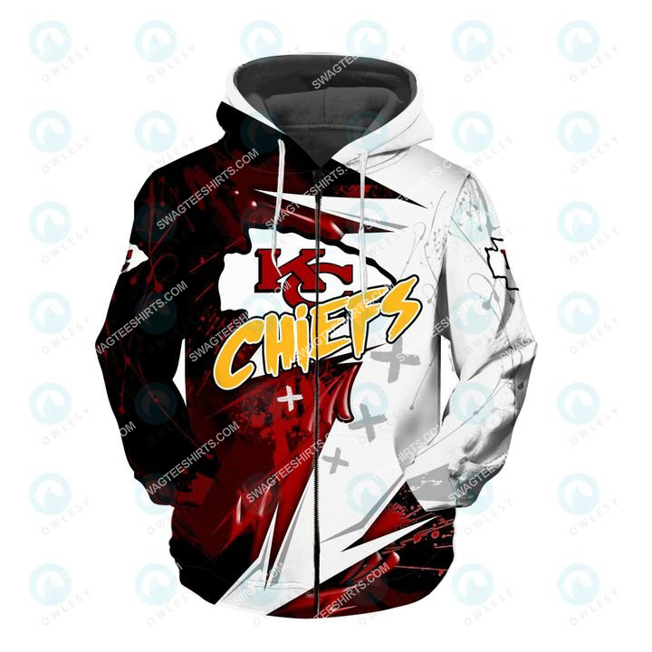the kansas chiefs football super bowl all over printed zip hoodie 1