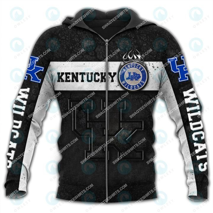 the kentucky wildcats football all over printed zip hoodie 1