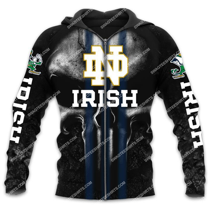 the notre dame fighting irish football all over printed zip hoodie 1