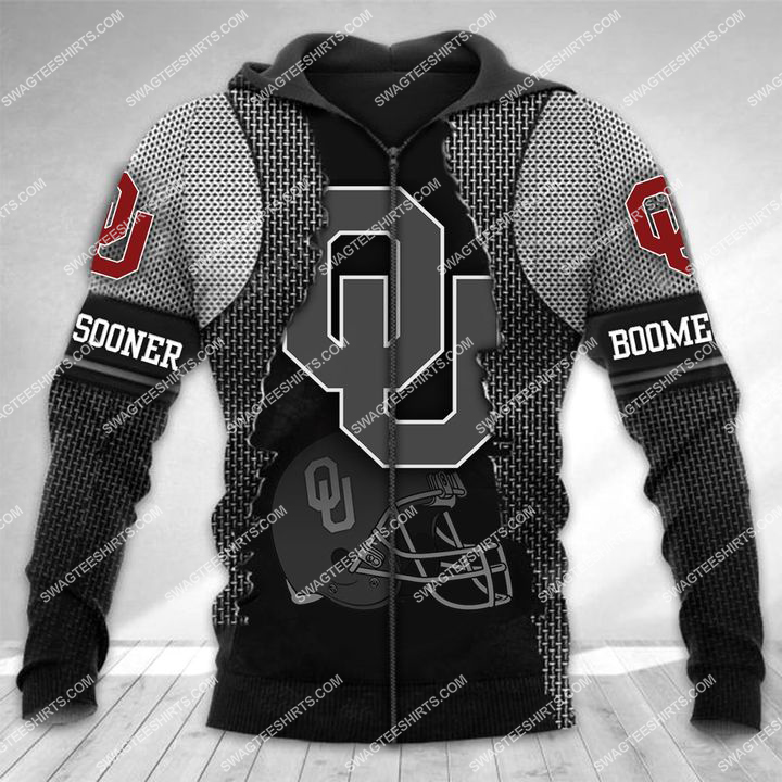 the oklahoma sooners football all over printed zip hoodie 1