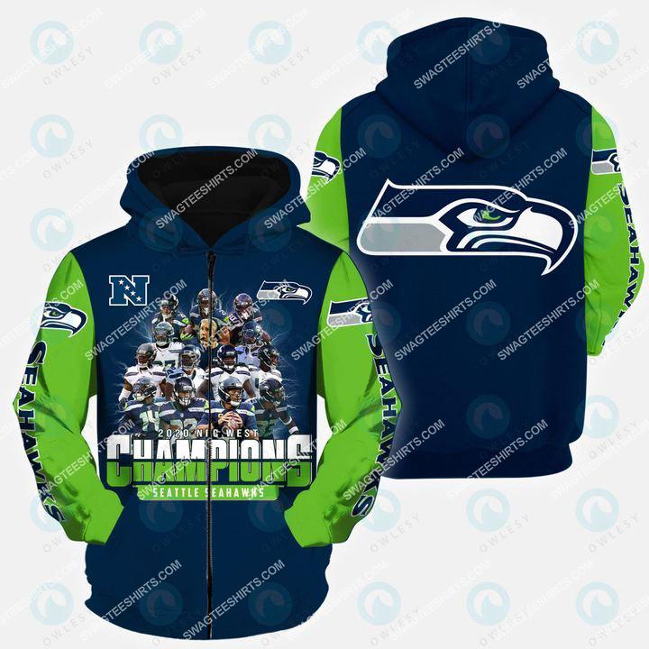 the seattle seahawks american football team all over printed zip hoodie 1