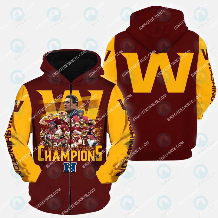 the washington football team all over printed zip hoodie 1