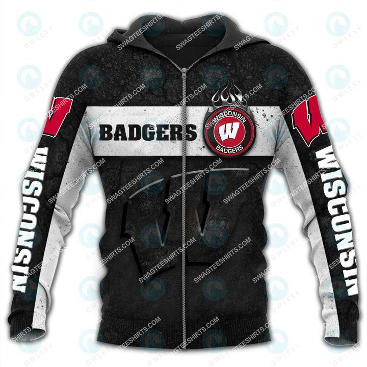 the wisconsin badgers football all over printed zip hoodie 1