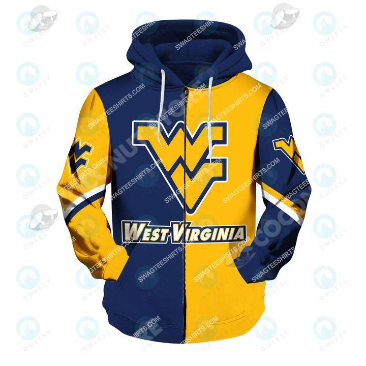 west virginia mountaineers football all over printed zip hoodie 1