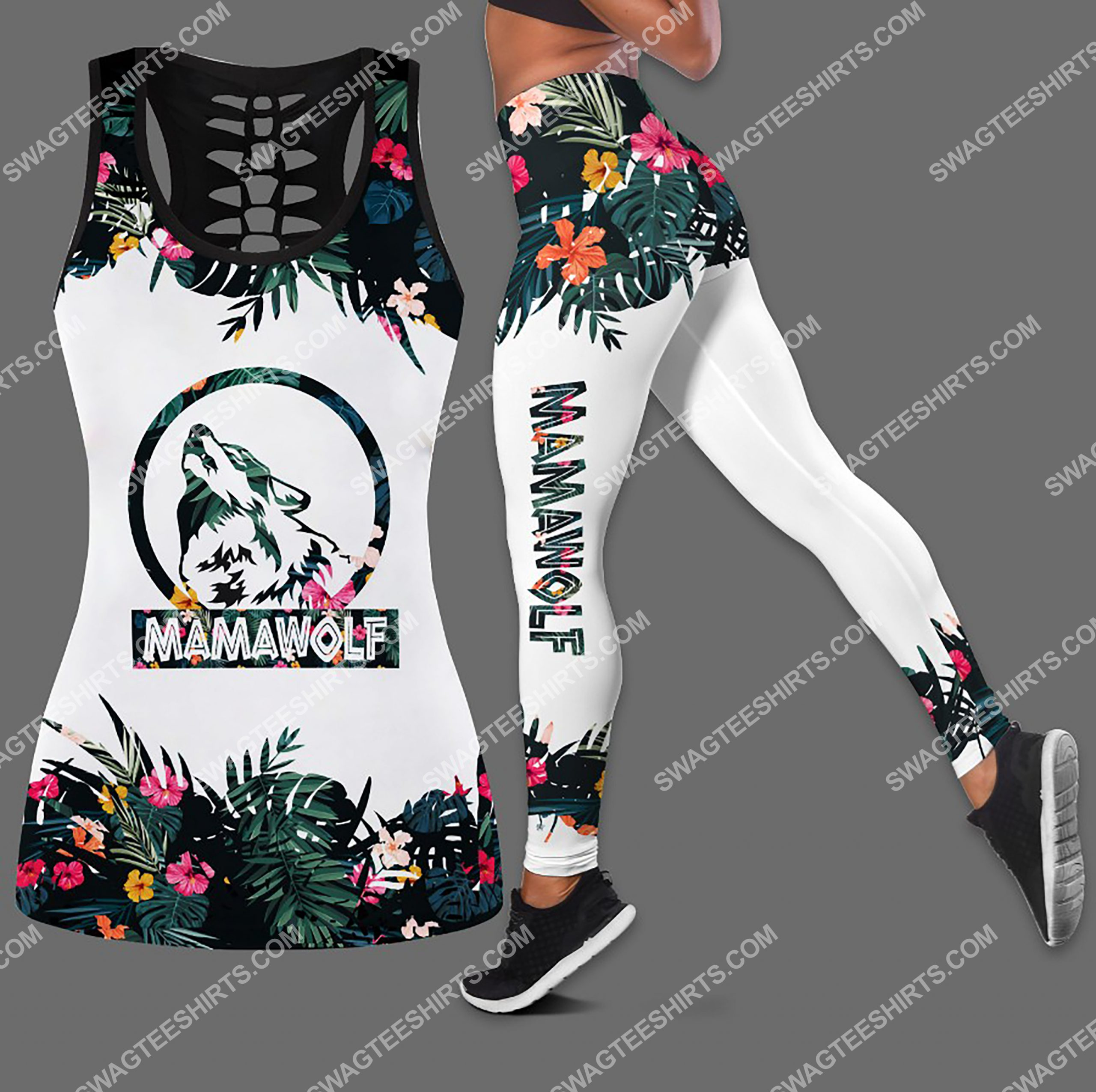 wolf lover mama wolf floral all over printed leggings set 1