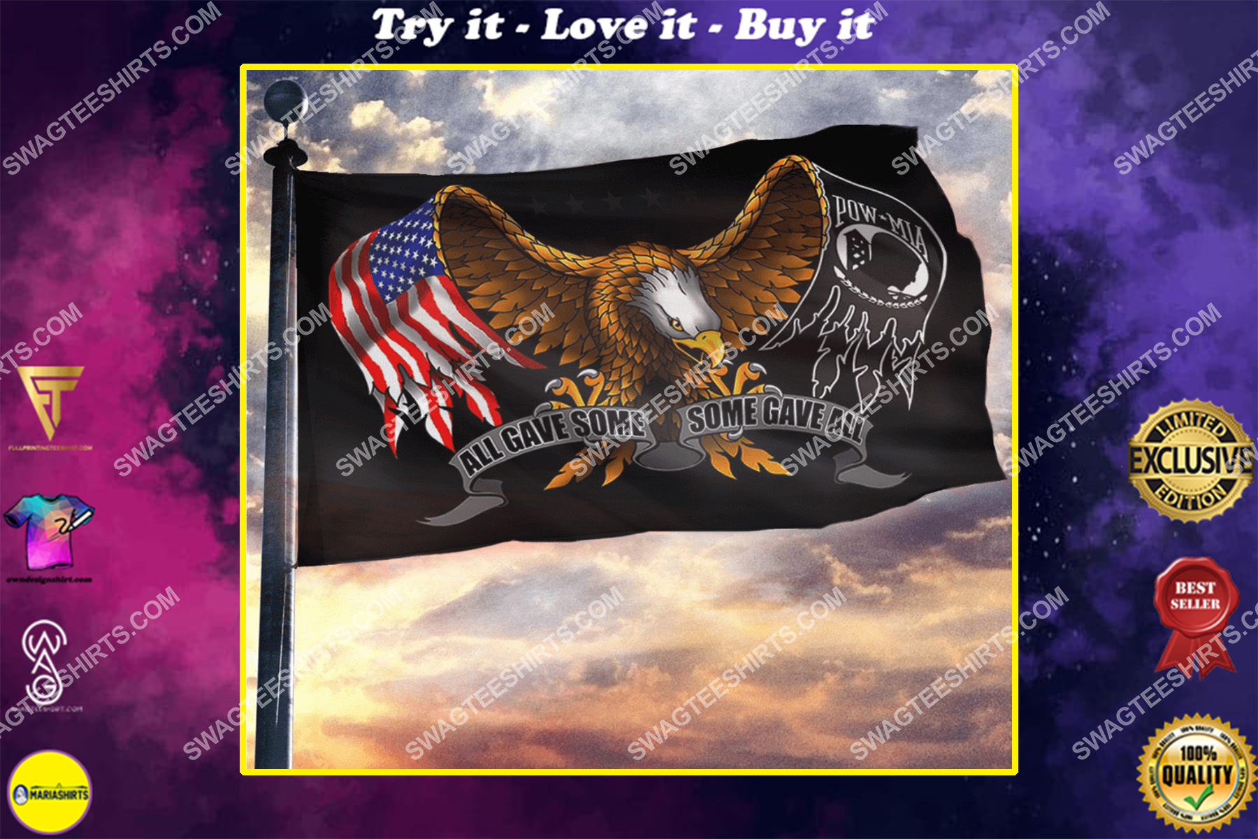 all gave some some gave all bald eagle american memorial day flag - Copy (2)