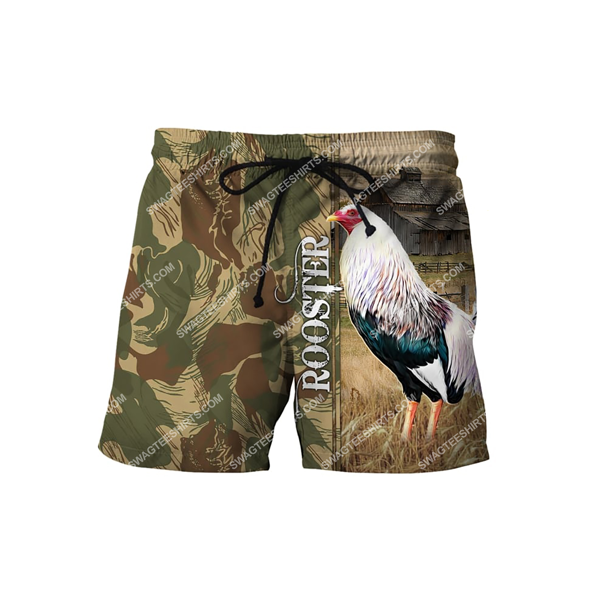 farm life rooster chicken full printing shorts 1