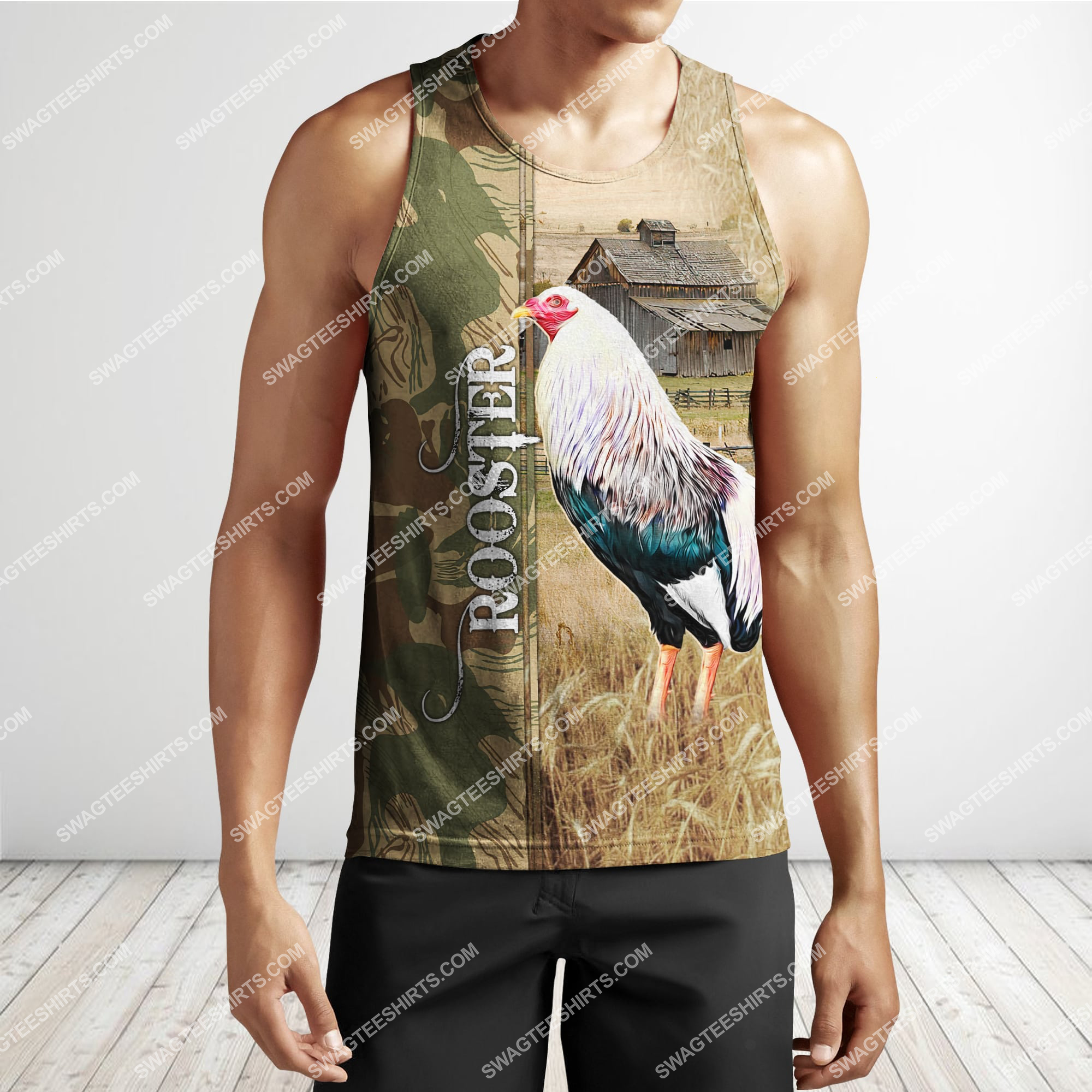 farm life rooster chicken full printing tank top 1