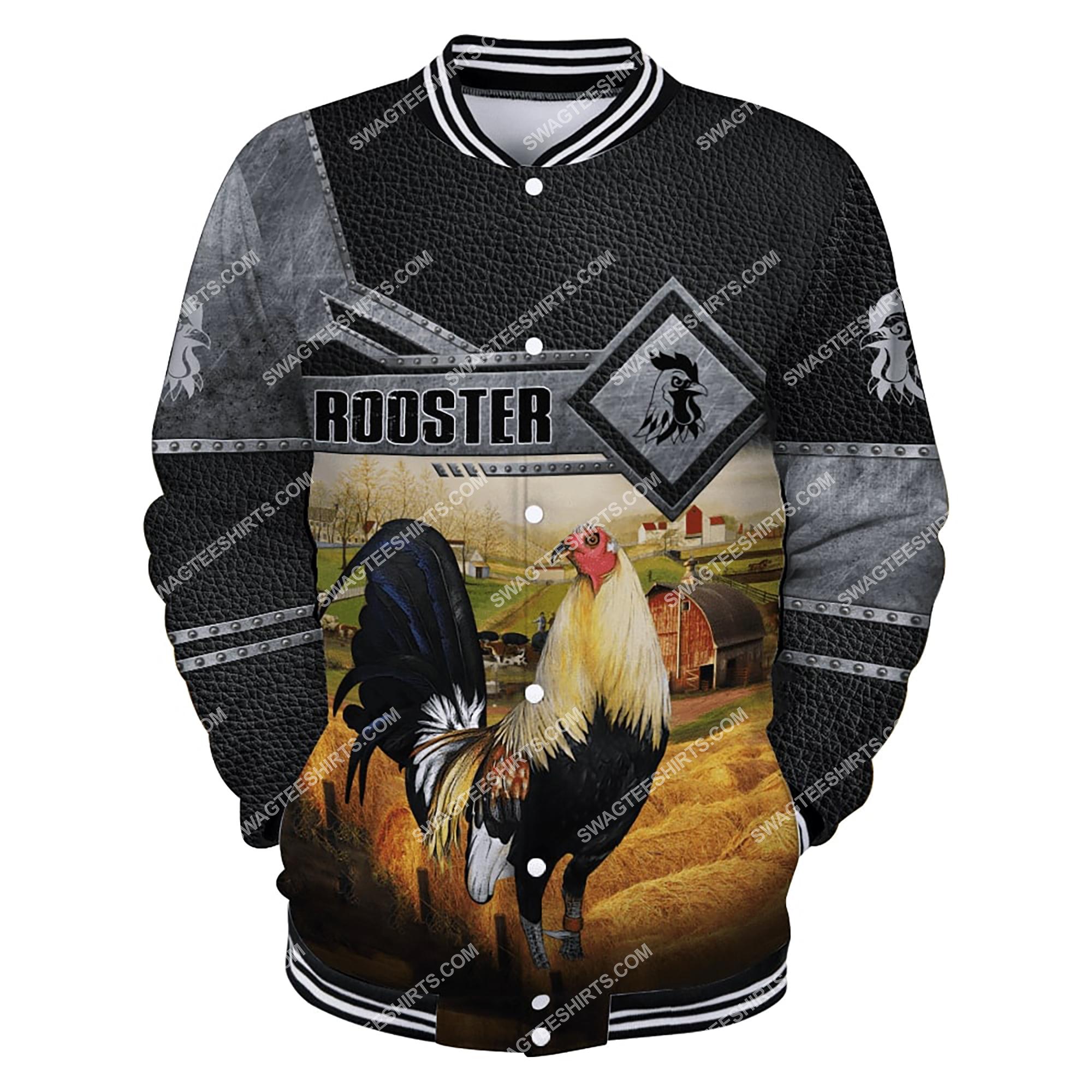 love rooster and farm life metal full printing baseball jacket 1
