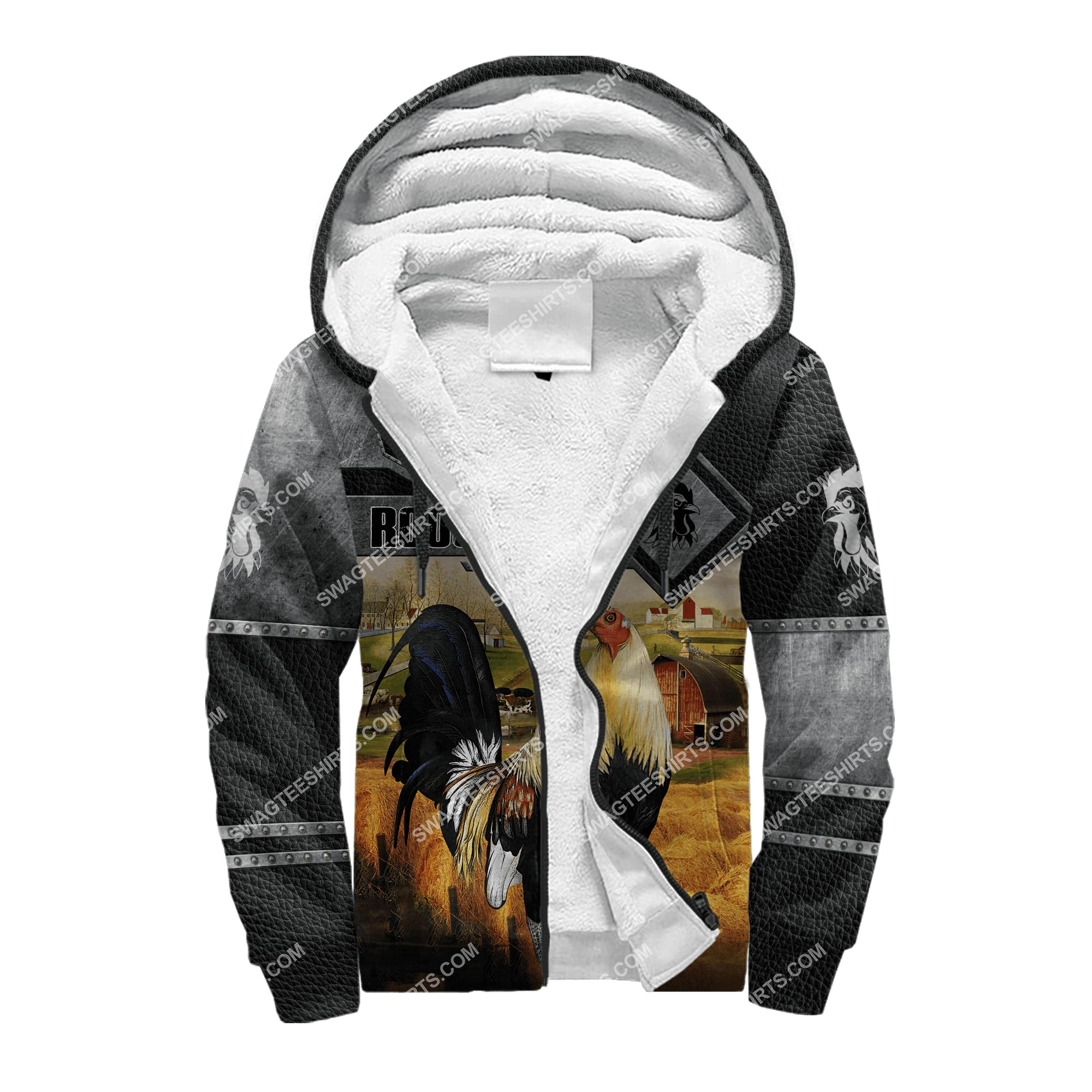 love rooster and farm life metal full printing fleece hoodie 1