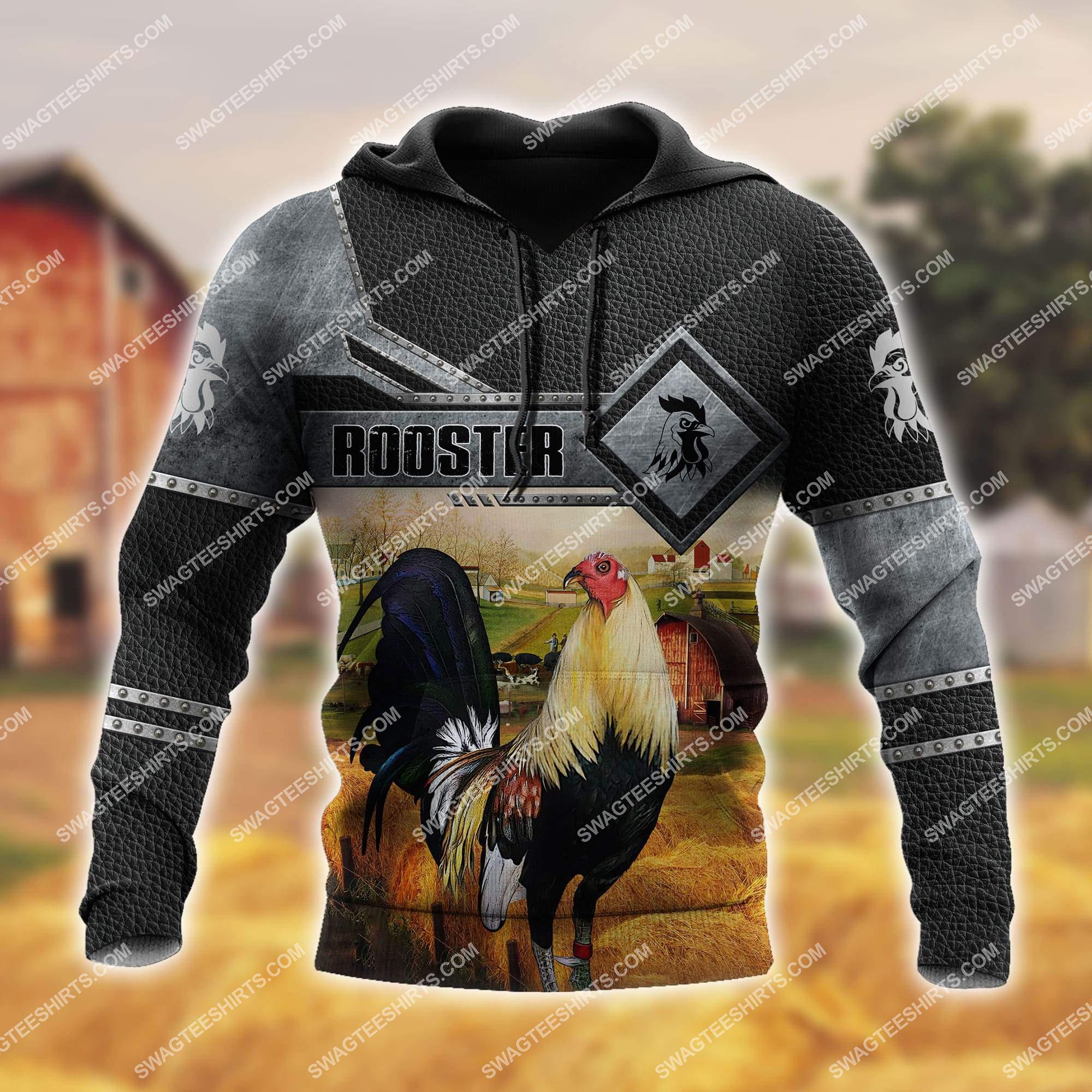 love rooster and farm life metal full printing hoodie 1