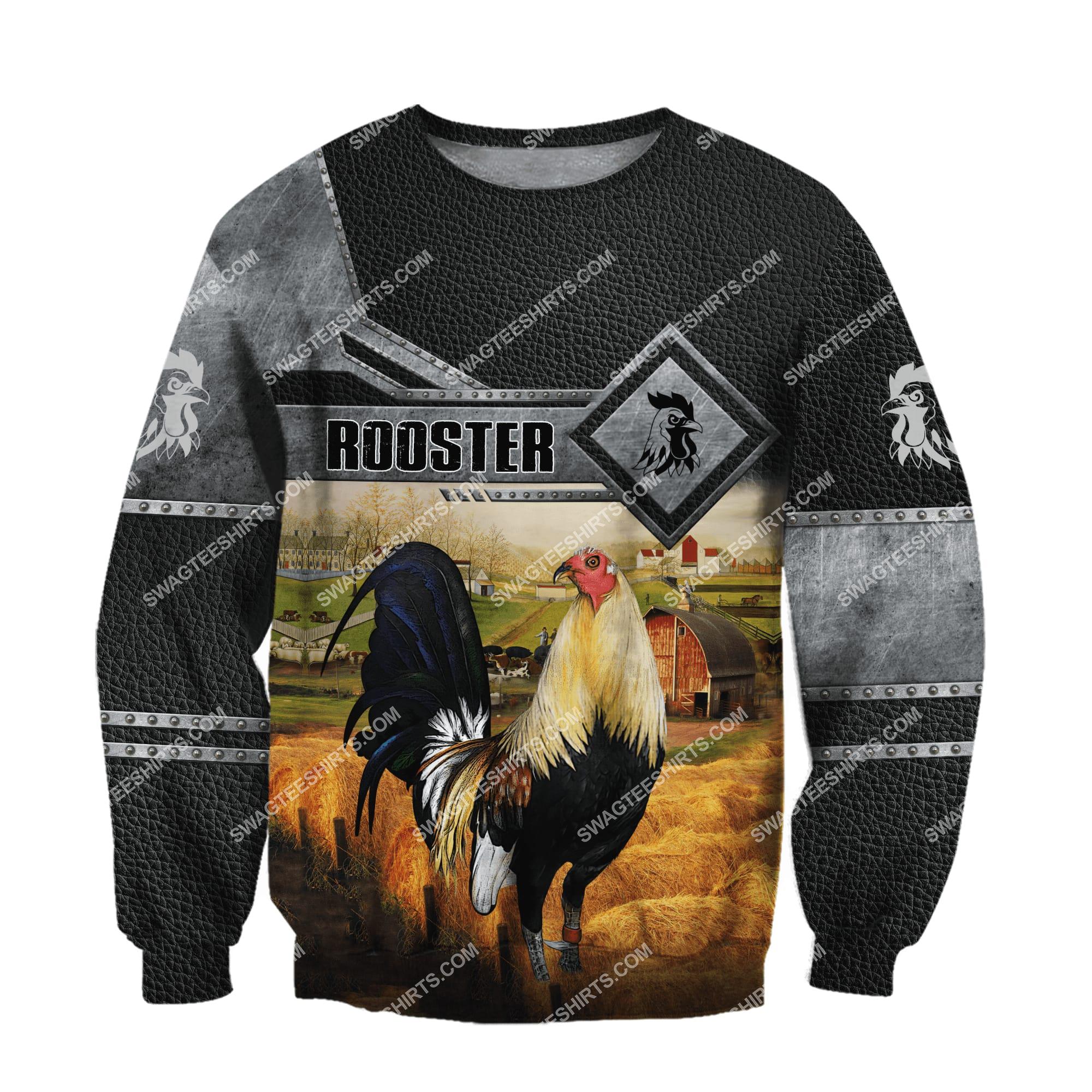 love rooster and farm life metal full printing sweatshirt 1