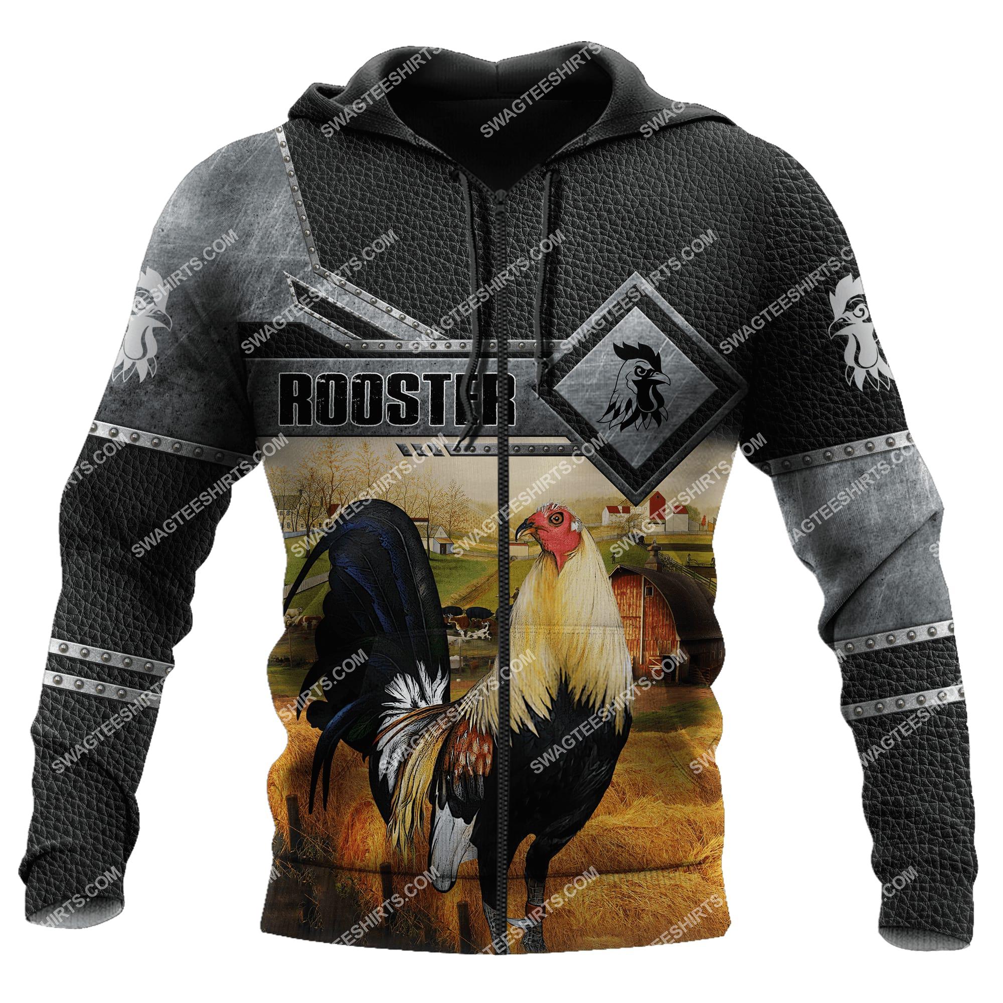 love rooster and farm life metal full printing zip hoodie 1