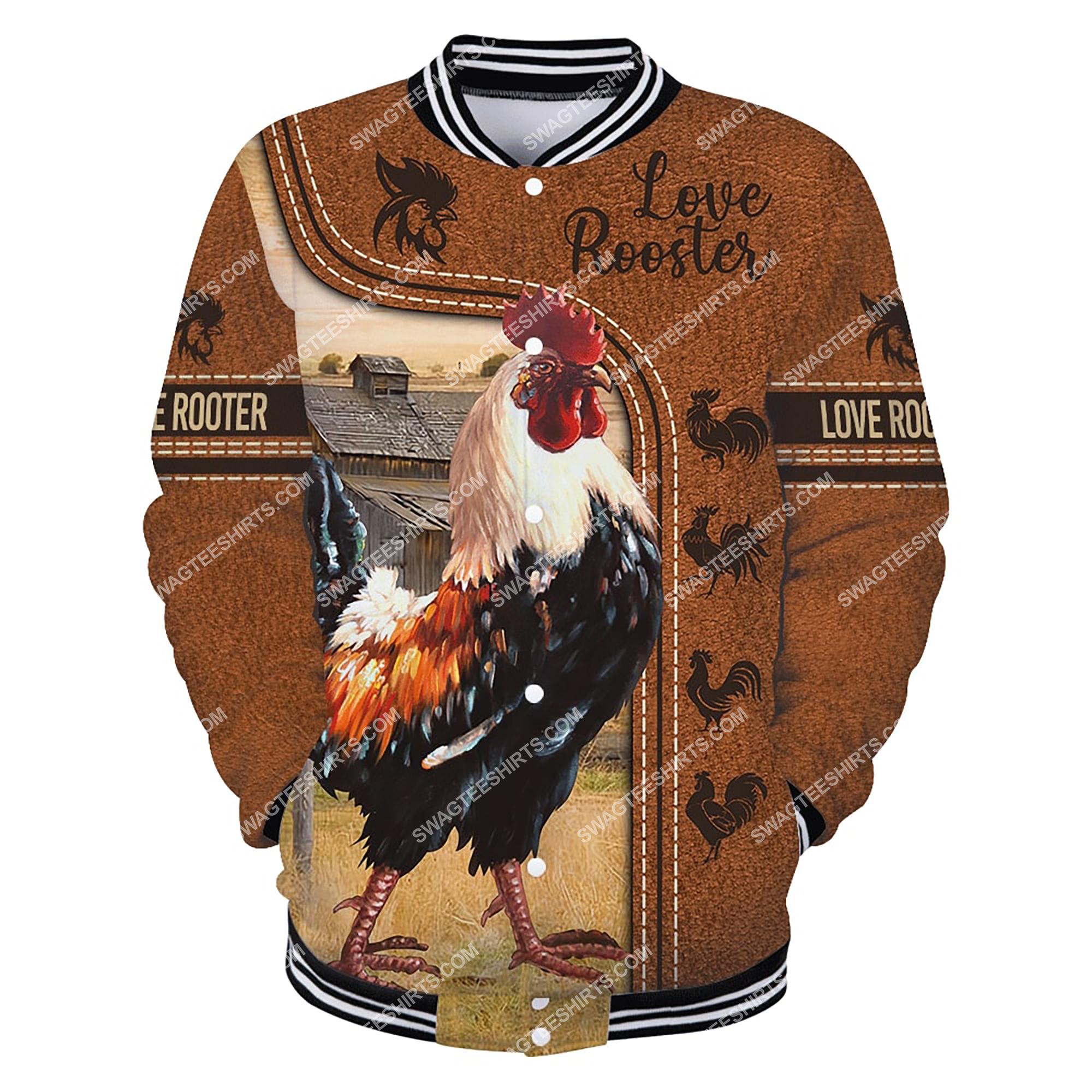 love rooster chicken full printing baseball jacket 1