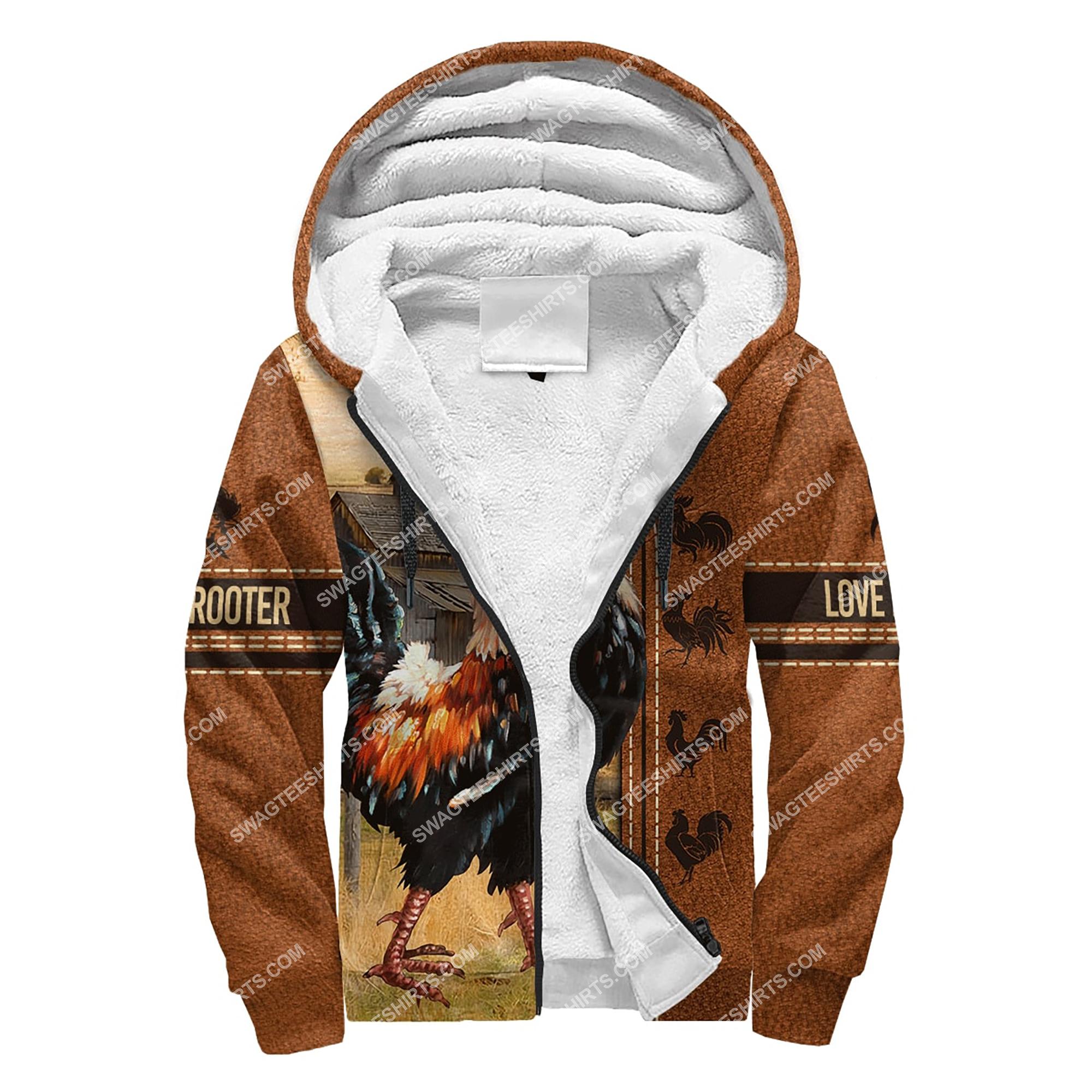 love rooster chicken full printing fleece hoodie 1
