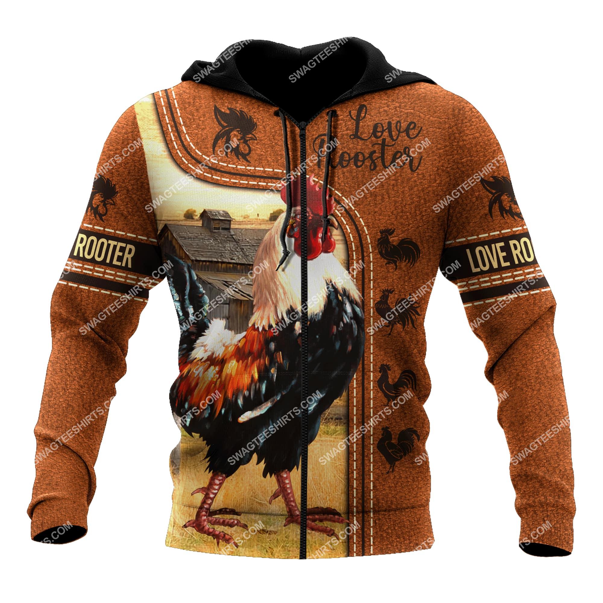 love rooster chicken full printing zip hoodie 1